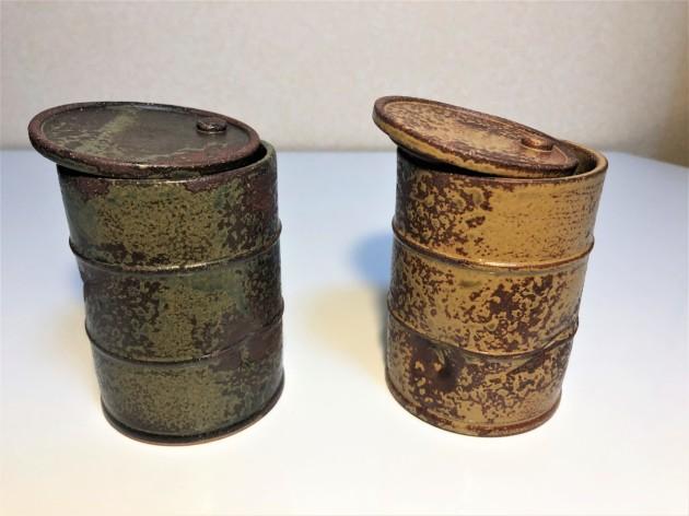 ドラム缶湯呑茶碗「鉄さび(黄)」「鉄さび(緑)」